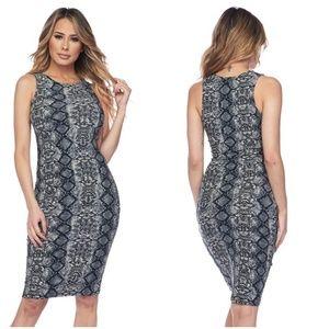 Yelete Dresses - NEW Silver Snakeskin Print Bodycon Dress